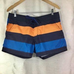 H&M Mens Navy Blue & Orange Board Swim Shorts Med